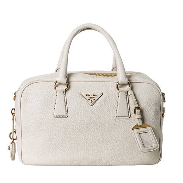 Prada Women's 'Vitello Daino' White Pebbled Leather Satchel Bag