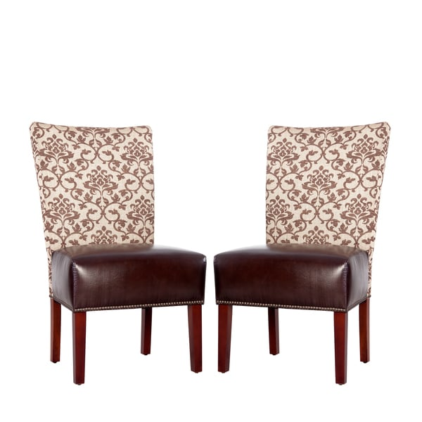 Better Living Duet Emma Pecan Fabric and Coffee Brown Renu Leather Armless Chair (Set of 2)