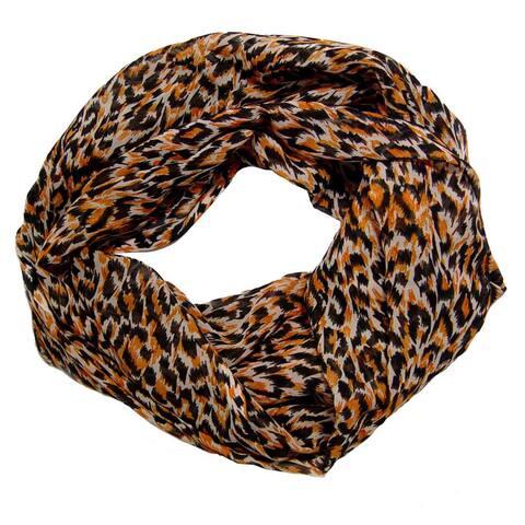Peach Couture Woman's Cheetah Print Infinity Loop Scarf
