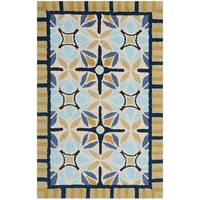 "Safavieh Hand-Hooked Four Seasons Tan/ Blue Polyester Rug - 2'6"" x 4'"