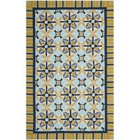 Safavieh Hand-Hooked Four Seasons Tan/ Blue Polyester Rug - 8' x 10'