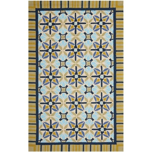 Safavieh Hand-Hooked Four Seasons Tan/ Blue Polyester Rug (8' x 10')