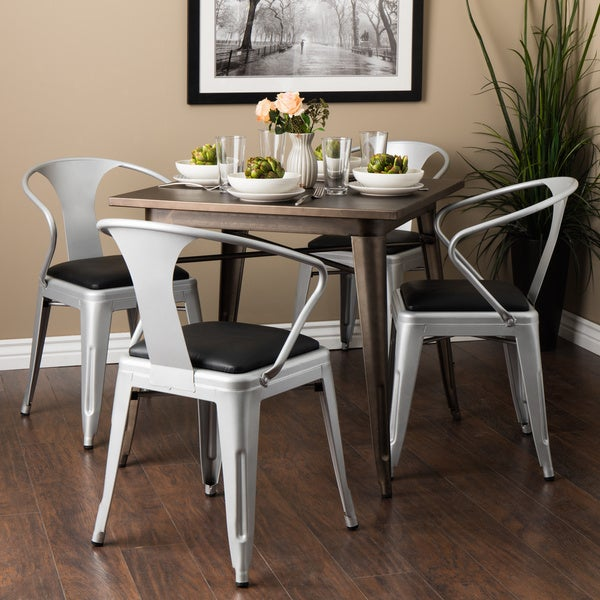 Padded Silver Tabouret Stacking Chairs (Set of 4)