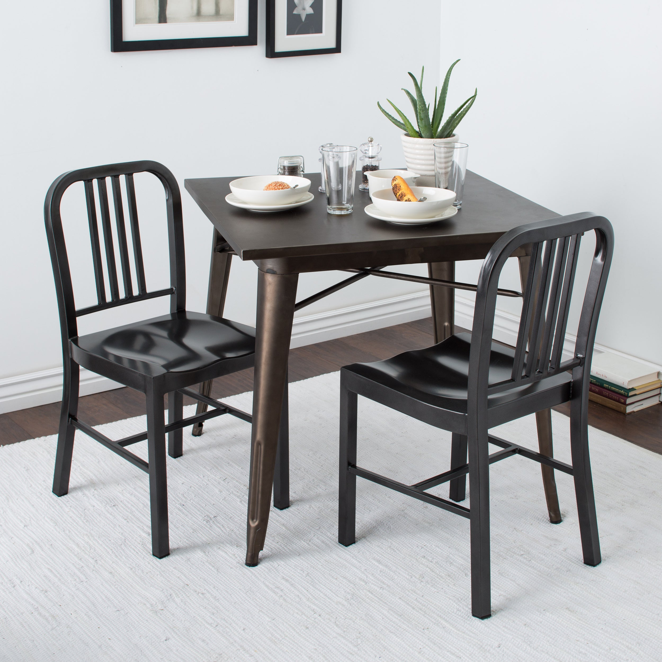 Charcoal Metal Dining Chairs (Set of 2), Black