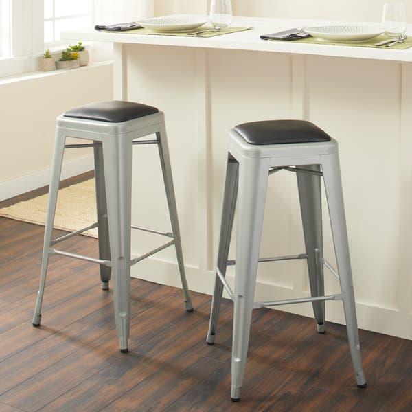 Incredible Shop 30 Inch Padded Metal Barstools Set Of 2 Free Inzonedesignstudio Interior Chair Design Inzonedesignstudiocom