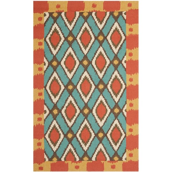 Safavieh Hand-Hooked Four Seasons Light Blue Polyester Rug - 3'6' x 5'6'