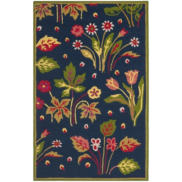 Safavieh Hand-Hooked Four Seasons Navy / Green Polyester Rug (2'6 x 4')