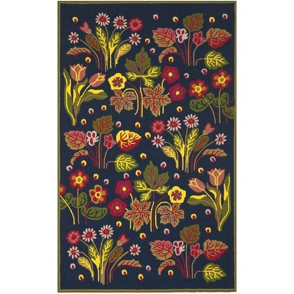 Safavieh Hand-Hooked Four Seasons Navy / Green Polyester Rug (5' x 8')