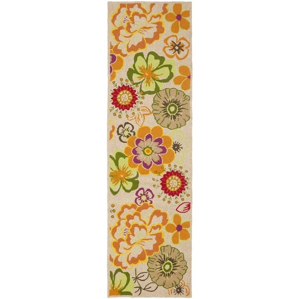"""Safavieh Hand-Hooked Four Seasons Ivory / Green Polyester Rug (2'3"""" x 8')"""