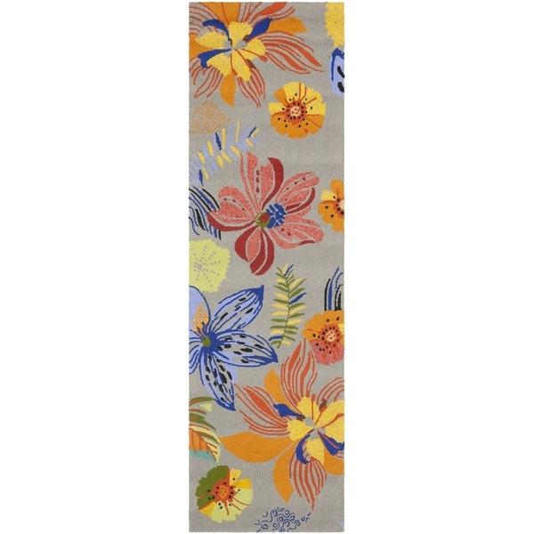 Safavieh Hand-Hooked Four Seasons Grey / Orange Polyester Rug (2'3 x 8')