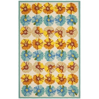 Safavieh Hand-Hooked Four Seasons Ivory / Blue Polyester Rug (3'6 x 5'6)