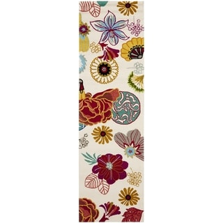 "Safavieh Hand-Hooked Four Seasons Ivory / Red Polyester Rug (2'3"" x 8')"
