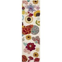"""Safavieh Hand-Hooked Four Seasons Ivory / Red Polyester Rug - 2'3"""" x 8'"""