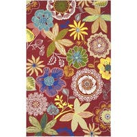 """Safavieh Hand-Hooked Four Seasons Red/ Multicolored Polyester Rug - 3'6"""" x 5'6"""""""