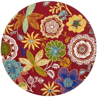 Safavieh Four Seasons Stain Resistant Hand-hooked Red Rug (4' Round)