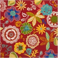 Safavieh Hand-Hooked Four Seasons Red/ Multicolored Polyester Rug - 6' x 6' Square