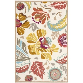 Safavieh Hand-Hooked Four Seasons Floral Ivory / Grey Polyester Runner (2'6 x 4')