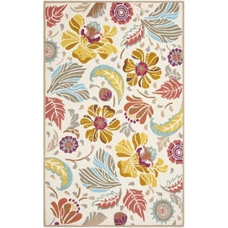 Safavieh Hand-Hooked Four Seasons Floral Ivory / Grey Polyester Rug (5' x 8')