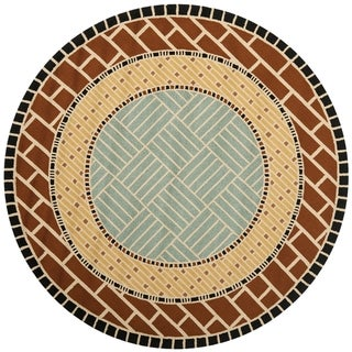 Safavieh Hand-Hooked Four Seasons Brown/ Blue Polyester Rug (6' Round)