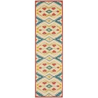Safavieh Hand-Hooked Four Seasons Southwestern Natural/ Blue Polyester Runner - 2'3 x 8'