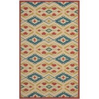 Safavieh Hand-Hooked Four Seasons Southwestern Natural/ Blue Polyester Rug - 5' x 8'