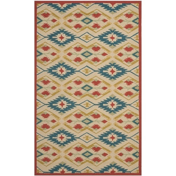 Safavieh Hand-Hooked Four Seasons Southwestern Natural/ Blue Polyester Rug - 8' x 10'