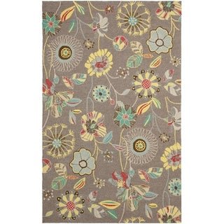 Safavieh Hand-Hooked Four Seasons Floral Grey / Blue Polyester Rug (3'6 x 5'6)