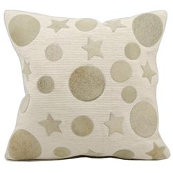 Mina Victory Natural Leather and Hide Moon and Stars Beige Throw Pillow (20-inch x 20-inch) by Nourison