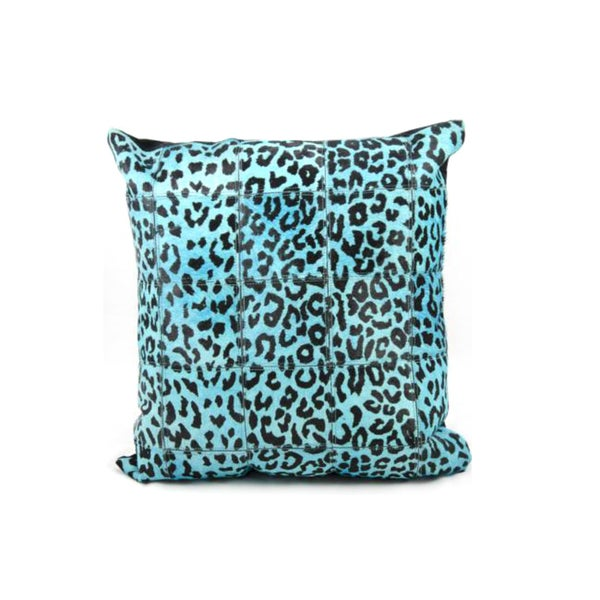 Mina Victory Natural Leather and Hide Leopard Print Turquoise Throw Pillow (20-inch x 20-inch) by Nourison