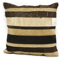 Mina Victory Natural Leather and Hide Stripe Brown/Beige Throw Pillow (20-inch x 20-inch) by Nourison