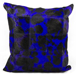 Mina Victory Natural Leather and Hide Large Leopard Purple Throw Pillow (20-inch x 20-inch) by Nourison