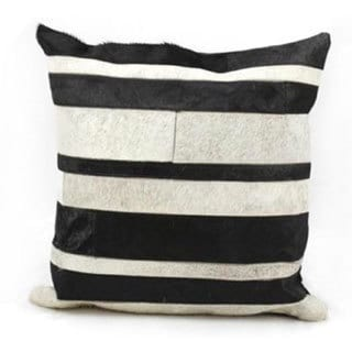 Mina Victory Natural Leather and Hide Stripe Black/Grey Throw Pillow (20-inch x 20-inch) by Nourison