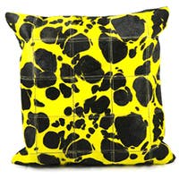 Mina Victory Natural Leather and Hide Large Leopard Yellow Throw Pillow (20-inch x 20-inch) by Nourison