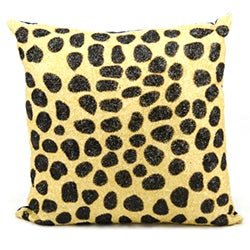 Mina Victory Luminescence Beaded Leopard Beige/Black Throw Pillow (20-inch x 20-inch) by Nourison