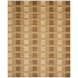 Safavieh Hand-knotted Tibetan Squares Brown Wool Rug (9' x 12')