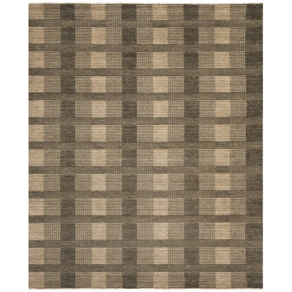 Safavieh Hand-knotted Tibetan Squares Charcoal Grey Wool Rug - 8' x 10'