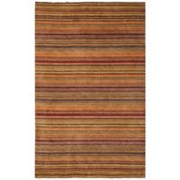Safavieh Hand-knotted Tibetan Stripes Red Wool Rug - 5' x 8'