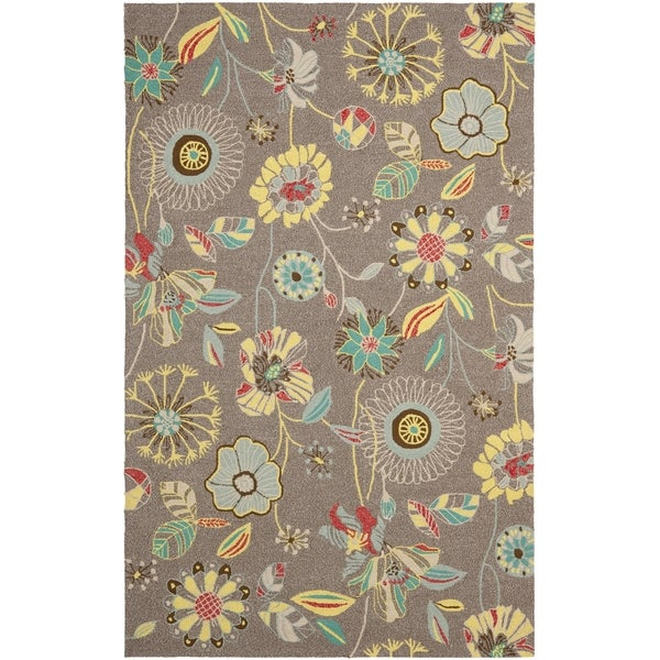 Safavieh Hand-Hooked Four Seasons Floral Grey / Blue Polyester Rug (5' x 8')