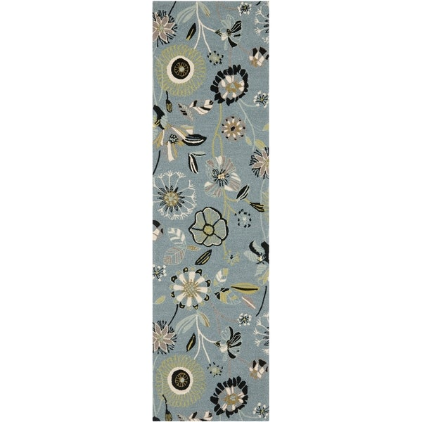 Safavieh Hand-Hooked Four Seasons Floral Blue/ Multicolored Polyester Runner (2'3 x 8')