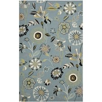Safavieh Hand-Hooked Four Seasons Floral Blue/ Multicolored Polyester Rug - 3'6 x 5'6