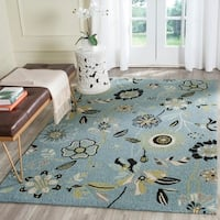 Safavieh Hand-Hooked Four Seasons Floral Blue/ Multicolored Polyester Rug - 5' x 8'