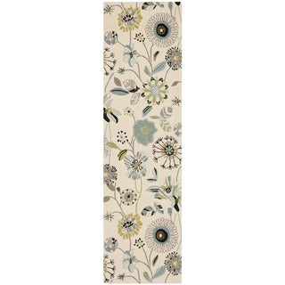 Safavieh Hand-Hooked Four Seasons Floral Ivory / Blue Polyester Runner - 2'3 x 8'