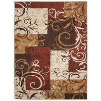 Safavieh Kashmir Scroll Panels Red/ Camel Rug - 8' x 10'