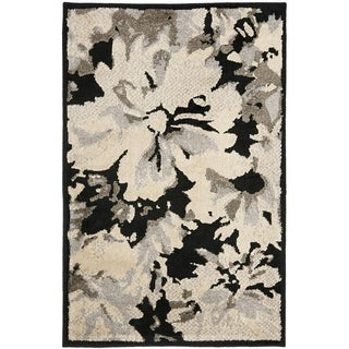 Safavieh Kashmir Black/ Grey Floral Rug (5' x 8')