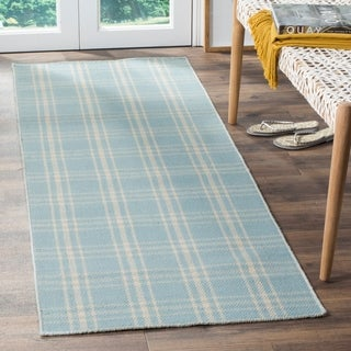 Safavieh Tapestry-woven Kilim Village Light Blue Wool Rug (2'3 x 7')