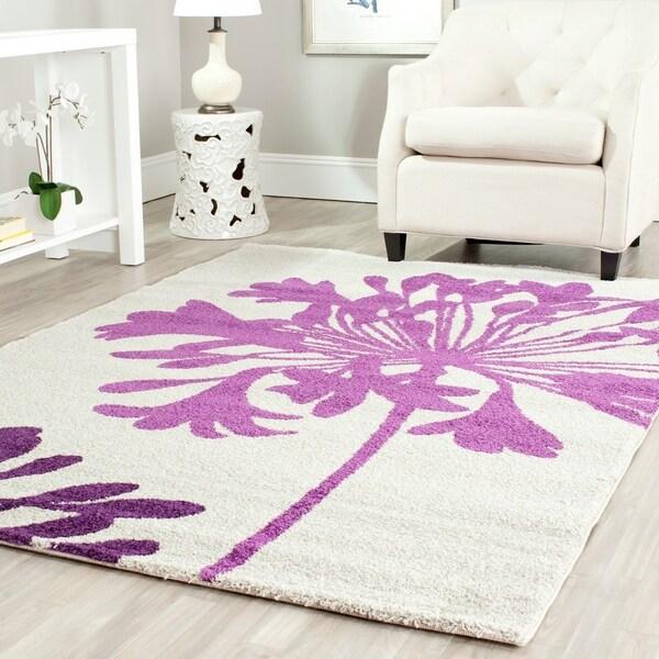 "Safavieh Porcello Contemporary Floral Cream/ Berry Purple Area Rug - 8' x 11'2"""