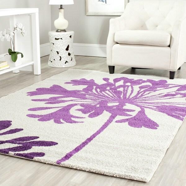Safavieh Porcello Contemporary Floral Cream/ Berry Purple Area Rug - 8' x 11'2