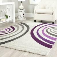 Safavieh Porcello Contemporary Cream/ Purple Rug - 4' x 5'7
