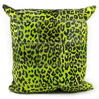 Mina Victory Natural Leather and Hide Leopard Print Green Throw Pillow (20-inch x 20-inch) by Nourison