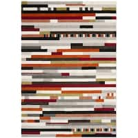 Safavieh Porcello Abstract Stripes Ivory/ Multi Rug - 4' x 5'7